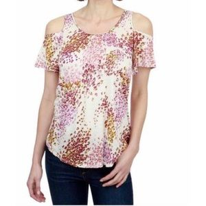 Lucky Brand Floral Cold Shoulder Top Beading Small